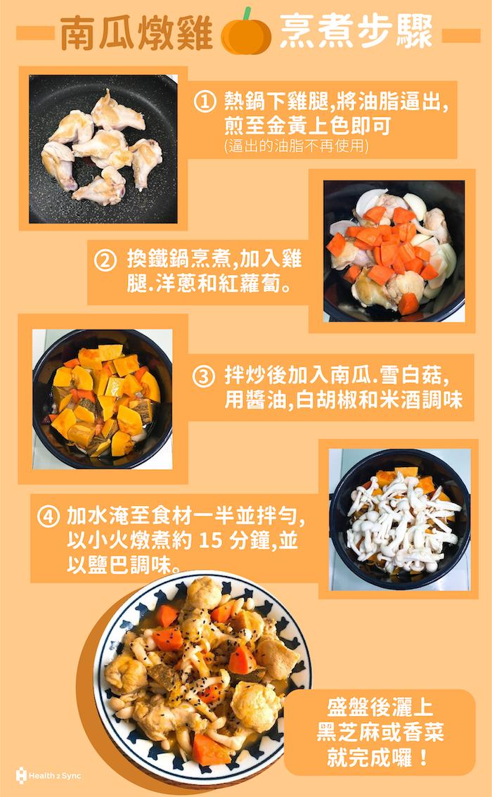 糖尿病食譜-南瓜燉雞的烹煮步驟