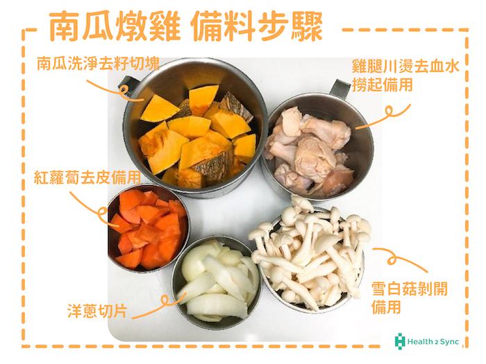 糖尿病菜單-南瓜燉雞的備料步驟