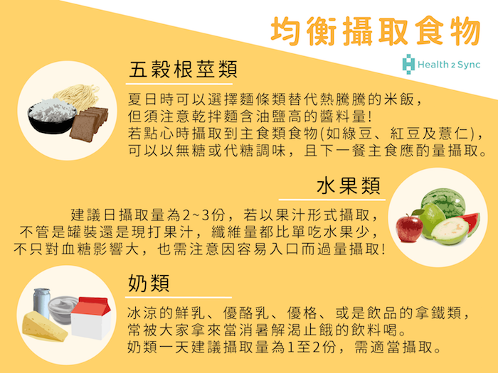 糖尿病患在夏季需要尤其留意五穀根莖類、水果、奶類等三大類食物,適量攝取以避免對血糖波動產生影響