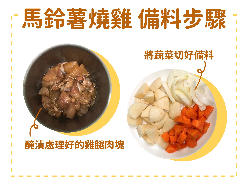 糖尿病菜單馬鈴薯燒雞備料步驟