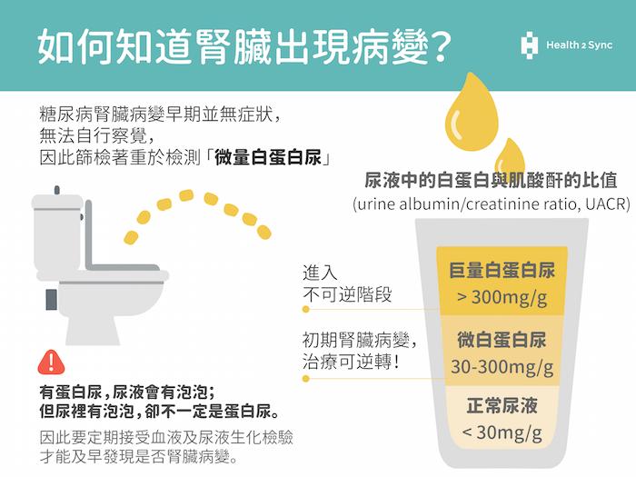 如何知道腎臟出現病變?糖尿病腎臟病變早期並無症狀,需做定期檢測「微量白蛋白尿」。