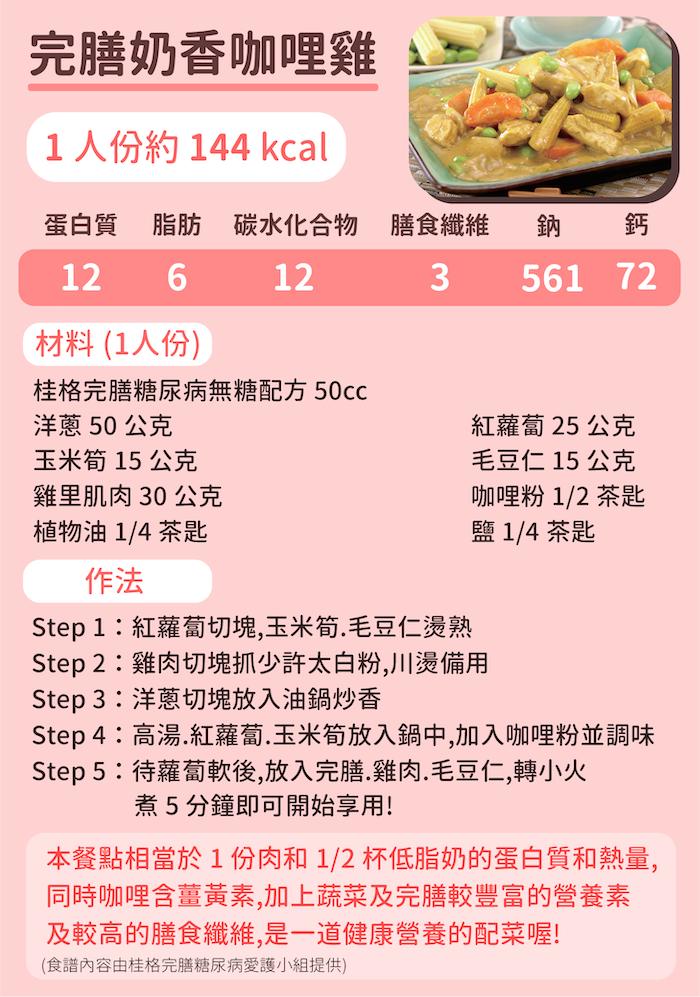 桂格完膳糖尿病無糖配方簡單食譜-奶香咖哩雞